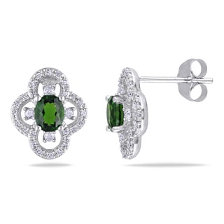Miadora 10k White Gold Chrome Diopside and 1/4ct TDW Diamond Flower Earrings (G-H, I1-I2)