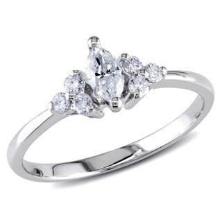 Miadora 18k White Gold 1/3ct TDW Marquise-cut Diamond Engagement Ring (G-H, I1-I2)