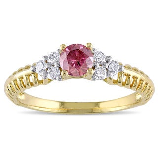 Miadora Signature Collection 18k Yellow Gold 2/5ct TDW Pink and White Diamond Engagement Ring
