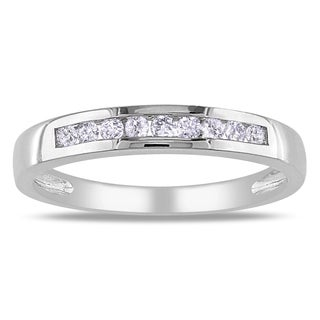 Miadora 10k White Gold 1/5ct TDW Anniversary Band