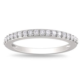 Miadora 10k White Gold 1/4ct TDW Diamond Anniversary Band