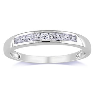 Miadora 10k White Gold 1/4ct TDW Princess-cut Diamond Anniversary band