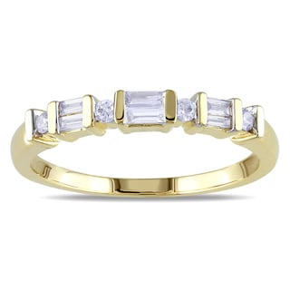 Miadora 10k Yellow Gold 1/5ct TDW Parallel Baguette and Round Diamond Stackable Anniversary Band Ring(G-H, I2-I3)
