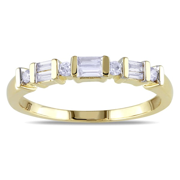 Miadora 10k Yellow Gold 1 5ct TDW Parallel Baguette and Round