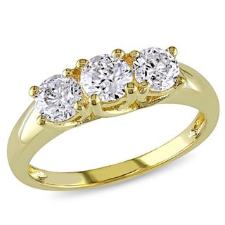 Miadora Signature Collection 14k Yellow Gold 1ct TDW Certified Diamond 3-stone Engagement Ring (G-H, I2-I3)