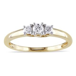 Miadora 14k Yellow Gold 1/4ct TDW Certified Diamond 3-stone Promise Ring (IGL)