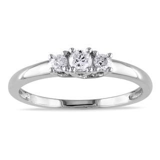 Miadora Collection 14k White Gold 1/4ct TDW Diamond 3-stone Engagement Ring