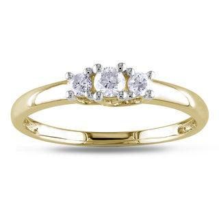 Miadora 10k Yellow Gold 1/4ct TDW Diamond 3-stone Engagement Ring
