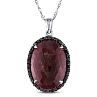 Miadora Signature Collection 14k White Gold Ruby and 1/3ct TDW Black Diamond Oval Halo Necklace