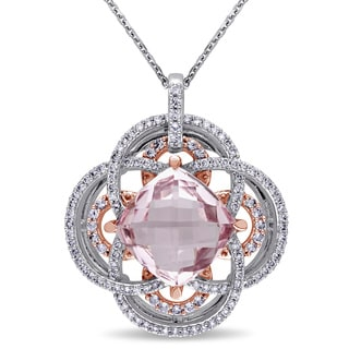 Miadora Signature Collection 14k White Gold Morganite, White Sapphire and 1/2ct Diamond Necklace (G-H,SI1-SI2)
