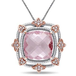 Miadora Signature Collection 14k White Gold Morganite and 1/4ct TDW Diamond Drop Necklace (G-H, SI1-SI2)