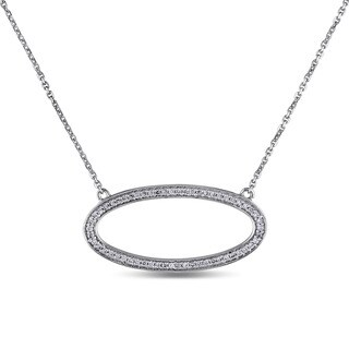 Miadora 14k White Gold 1/4ct TDW Diamond Oval Necklace