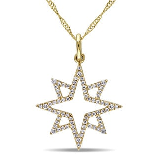 Miadora 14k Yellow Gold 1/5ct TDW Diamond Star Necklace