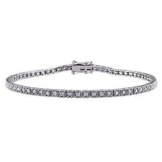 Miadora Signature Collection 10k White Gold 1ct TDW Diamond Tennis Bracelet