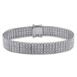 Miadora Signature Collection 10k White Gold 4ct TDW Diamond 4-row Tennis Bracelet (G-H, I2-I3)