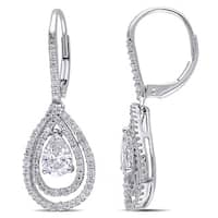 Miadora Signature Collection 14k White Gold 1 3/5ct TDW Diamond Teardrop Dangle Earrings