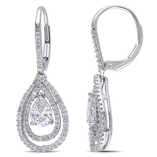 Miadora Signature Collection 14k White Gold 1 3/5ct TDW Diamond Teardrop Dangle Earrings