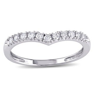 Miadora 10k White Gold 1/6ct TDW Diamond Contour Stackable Anniversary-style Wedding Band