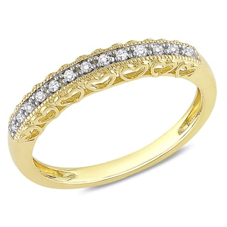 Miadora 10k Yellow Gold 1/10ct Diamond Vintage Anniversary Stackable Heart Wedding Band Ring (G-H, I2-I3)