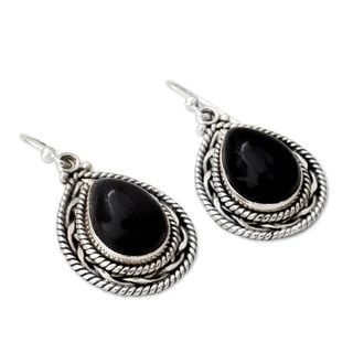 Palace Memories Modern Black Onyx Pear Gemstones Set in Rope Bezel of 925 Sterling Silver Womens Dangle Earrings (India)