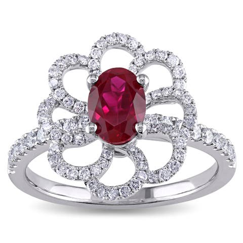 Miadora Signature Collection 14k White Gold Ruby and 5/8ct TDW Diamond Flower Cocktail Ring (G-H, SI1-SI2) - Red