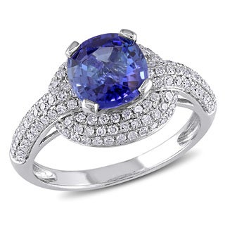 Miadora Signature Collection 14k White Gold Sapphire and 1/2ct TDW Diamond Halo Cocktail Ring (G-H,I1-I2)