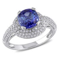 Miadora Signature Collection 14k White Gold Sapphire and 1/2ct TDW Diamond Halo Cocktail Ring (G-H,I
