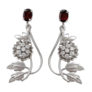 Sterling Silver 'Morning Blossom' Garnet Zirconium Earrings (India)
