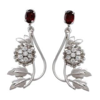 Handmade Sterling Silver 'Morning Blossom' Garnet Zirconium Earrings (India)