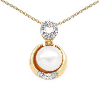 Malaika 14K Yellow Gold Plated 2.06 Carat Genuine Pearl and White Cubic Zirconia .925 Sterling Silver Pendant