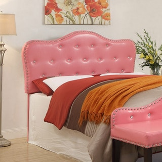 Furniture of America Pink Little Missy Leatherette Button Tufted Headboard