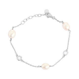 La Preciosa Sterling Silver Freshwater Pearl and Bezel-set Cubic Zirconia Link Bracelet