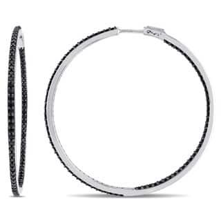 V1969 ITALIA Black Sapphire Hoop Earrings in Sterling Silver|https://ak1.ostkcdn.com/images/products/10774153/P17824464.jpg?impolicy=medium