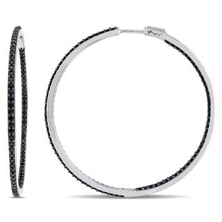 V1969 ITALIA Black Sapphire Hoop Earrings in Sterling Silver
