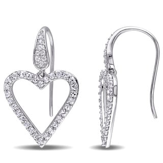 Miadora Sterling Silver White Sapphire Open Heart Drop Earrings