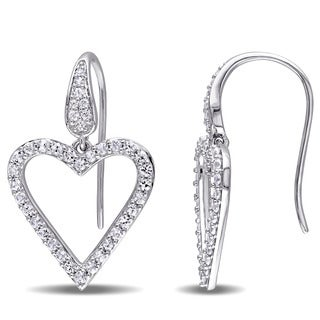 White Sapphire Heart Drop Earrings in Sterling Silver