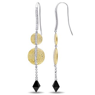 V1969 Italia Black Onyx and White Sapphire Moonlight Drop Earrings in Yellow Gold Plated Sterlin