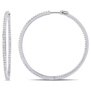 V1969 ITALIA White Sapphire Hoop Earrings in Sterling Silver