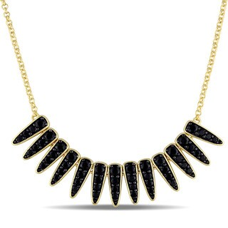 V1969 Italia Black Sapphire Mystique Necklace in Yellow Gold Plated Sterling Silver