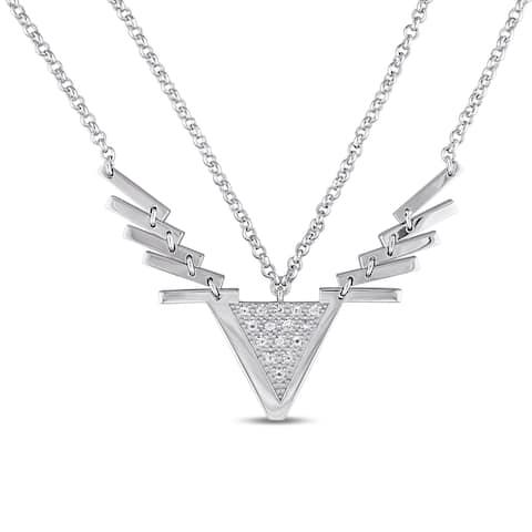 Miadora White Sapphire Insignia Necklace in Sterling Silver