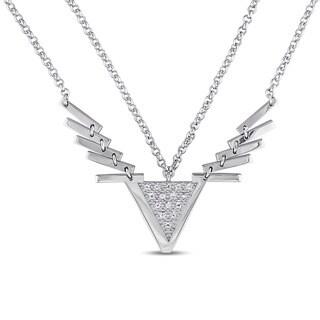 V1969 ITALIA White Sapphire Insignia Necklace in Sterling Silver