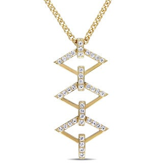 V1969 ITALIA White Sapphire Logo Ladder Necklace in 18k Yellow Gold Plated Sterling Silver