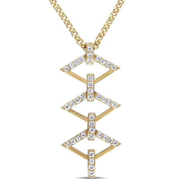 V1969 Italia White Sapphire Logo Ladder Necklace in Yellow Gold Plated Sterling Silver
