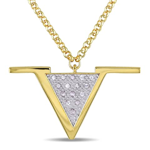 Miadora White Sapphire Insignia Necklace in Yellow Plated Sterling Silver