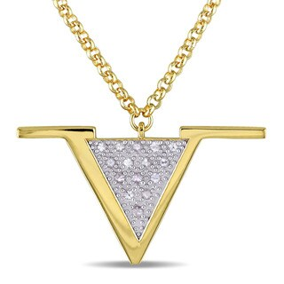 V1969 Italia White Sapphire Insignia Necklace in Yellow Gold Plated Sterling Silver