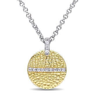 V1969 ITALIA White Sapphire Moonlight Necklace in 18k Yellow Gold Plated Sterling Silver
