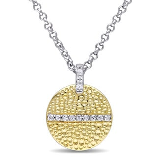 V1969 Italia White Sapphire Moonlight Necklace In Yellow Gold Plated Sterling Silver
