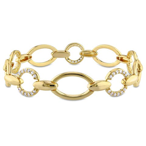 Miadora White Sapphire Circle Link Bracelet in Yellow Plated Sterling Silver