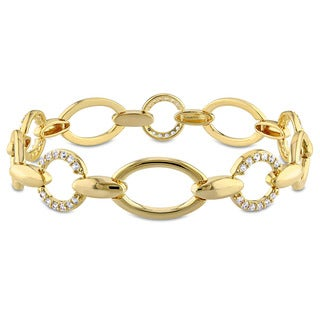 V1969 Italia White Sapphire Circle Link Bracelet in Yellow Gold Plated Sterling Silver