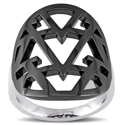 Miadora Openwork Ring in Sterling Silver with Black Rhodium